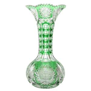Vase, ABCG, Green Cut To Clear