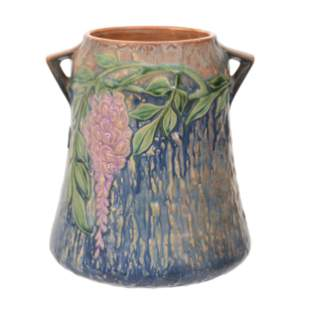 Vase, Two Handles, Roseville Art Pottery, Wisteria