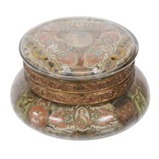 Cigar Band Jewel Box, Unmarked Wave Crest Art Glass