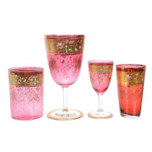 (4) Cranberry Art Glass Items, Unmarked Moser