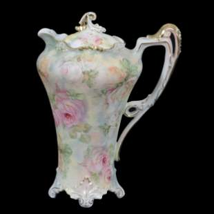 Chocolate Pot Marked Royal Bayreuth Rose Tapestry