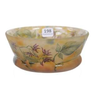 Bowl Signed Daum Nancy French Cameo Art Glass