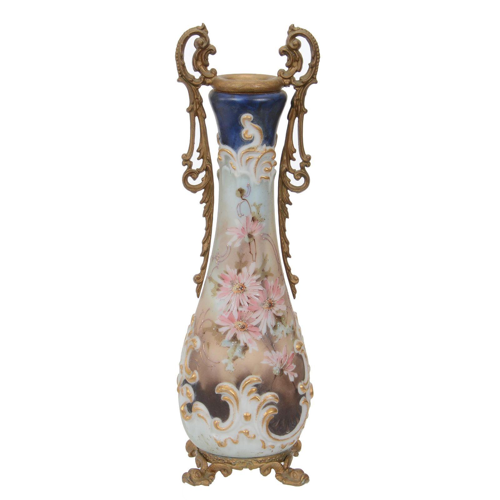 Footed Vase, Unmarked Wave Crest Art Glass