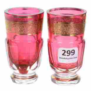 Pair Whiskey Glasses, Cased Cranberry Art Glass