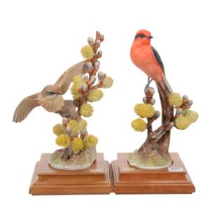 (2) Porcelain Bird Figures By Royal Worcester