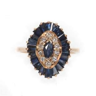 Lady's Ring, Sapphire & Diamond, 14k Gold