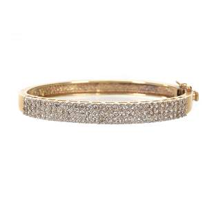 Bracelet, Yellow Gold Band, Pave Diamond Setting
