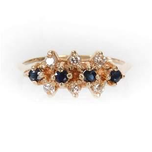 Lady's Ring, 14k Band, Diamond & Sapphire