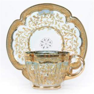 Cup & Saucer, Unmarked Moser Art Glass