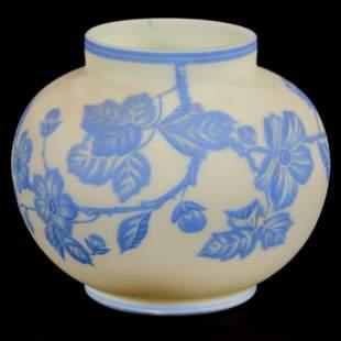 Vase, Cream Satin Art Glass, Blue Cameo Carved