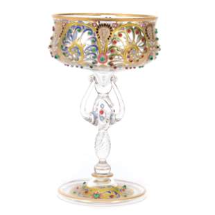 Art Glass Compote By Fritz Heckert, Ca. 1890's