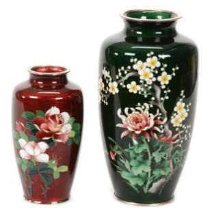 (2) Vases, Japanese Ginbari Cloisonne