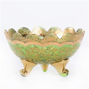 Footed Bowl, Green Moser Art Glass