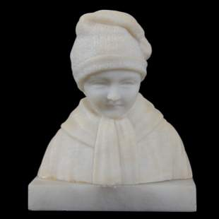 Carved Marble Bust, Young Child