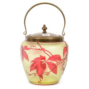 Biscuit Jar, Unmarked Baccarat Cameo Glass
