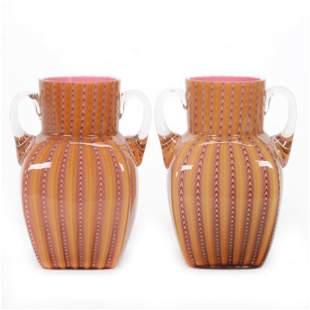 Pair Vases, Northwood Pullup By Stevens & Williams