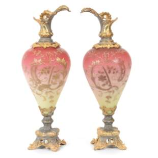 Pair Ewers W/O Handles, Satin Glass Body