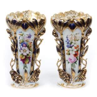 Pair Vases, Unmarked Old Paris Porcelain