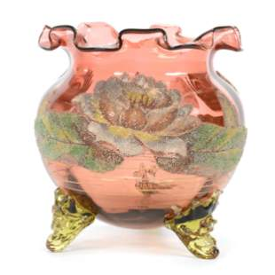 Footed Rose Bowl, Solid Rose Art Glass Body