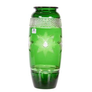 Vase, ABCG, Signed Hawkes Emerald Green Cut To Clear