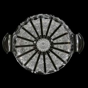 Round Serving Tray, ABCG Signed Hawkes Panel Pattern