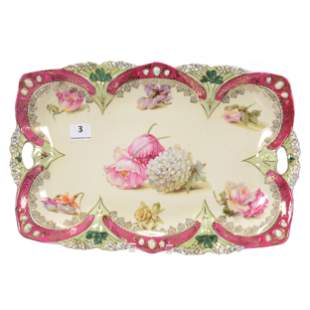 Dresser Tray Marked RS Prussia, Scattered Floral Decor