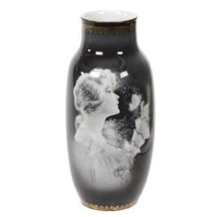 Vase Marked RS Suhl, Rare Black & White Portrait