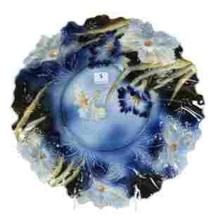 Bowl Marked RS Prussia, Cobalt Blue Carnation Mold
