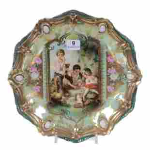 Plate Marked RS Prussia, Dice Throwers Scenic Decor