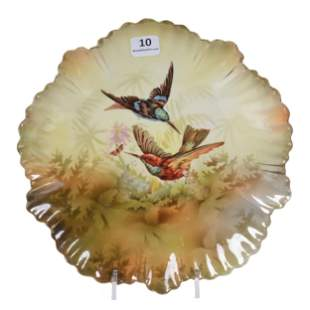 Plate Marked RS Prussia, Hummingbird Scenic Decor