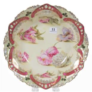 Bowl Marked RS Prussia, Scattered Floral Decor