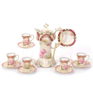 Chocolate Set Marked RS Prussia, Scattered Floral Decor
