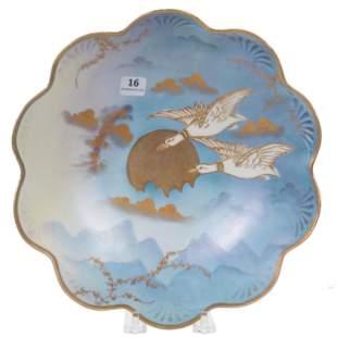 Bowl Unmarked Prussia, Ducks In Nighttime Flight