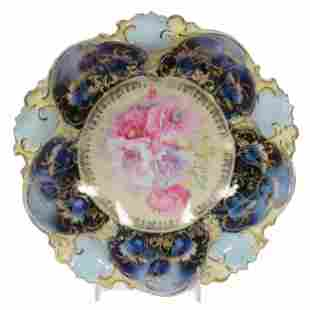 Bowl Marked RS Prussia, Cobalt Blue Poppy Decor