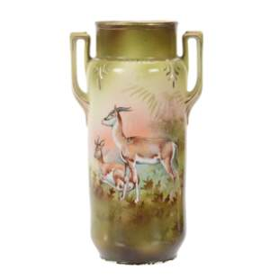 Vase Marked RS Prussia, Gazelle Scenic Decor