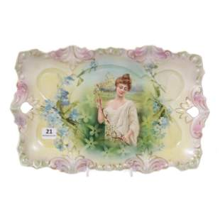 Dresser Tray Marked RS Prussia, Spring Season Portrait