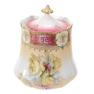 Cracker Jar, Unmarked Prussia, Floral Decor