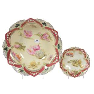 Berry Set Marked RS Prussia, Scattered Floral Decor