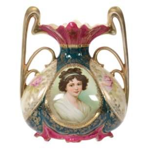 Vase Marked Royal Vienna, Lebrun W/Ribbon Portrait