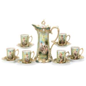 Chocolate Set Marked RS Prussia, Melon Eater Decor