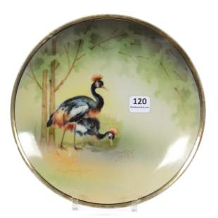 Plate Marked R.S. Germany, Crown Crane Decor