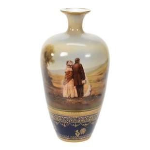 Vase Marked R.S. Suhl, Man, Woman & Dog