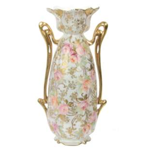 Vase Marked Royal Vienna, Satin With Floral Decor