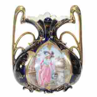 Vase Marked Royal Vienna, Woman W/Watering Can