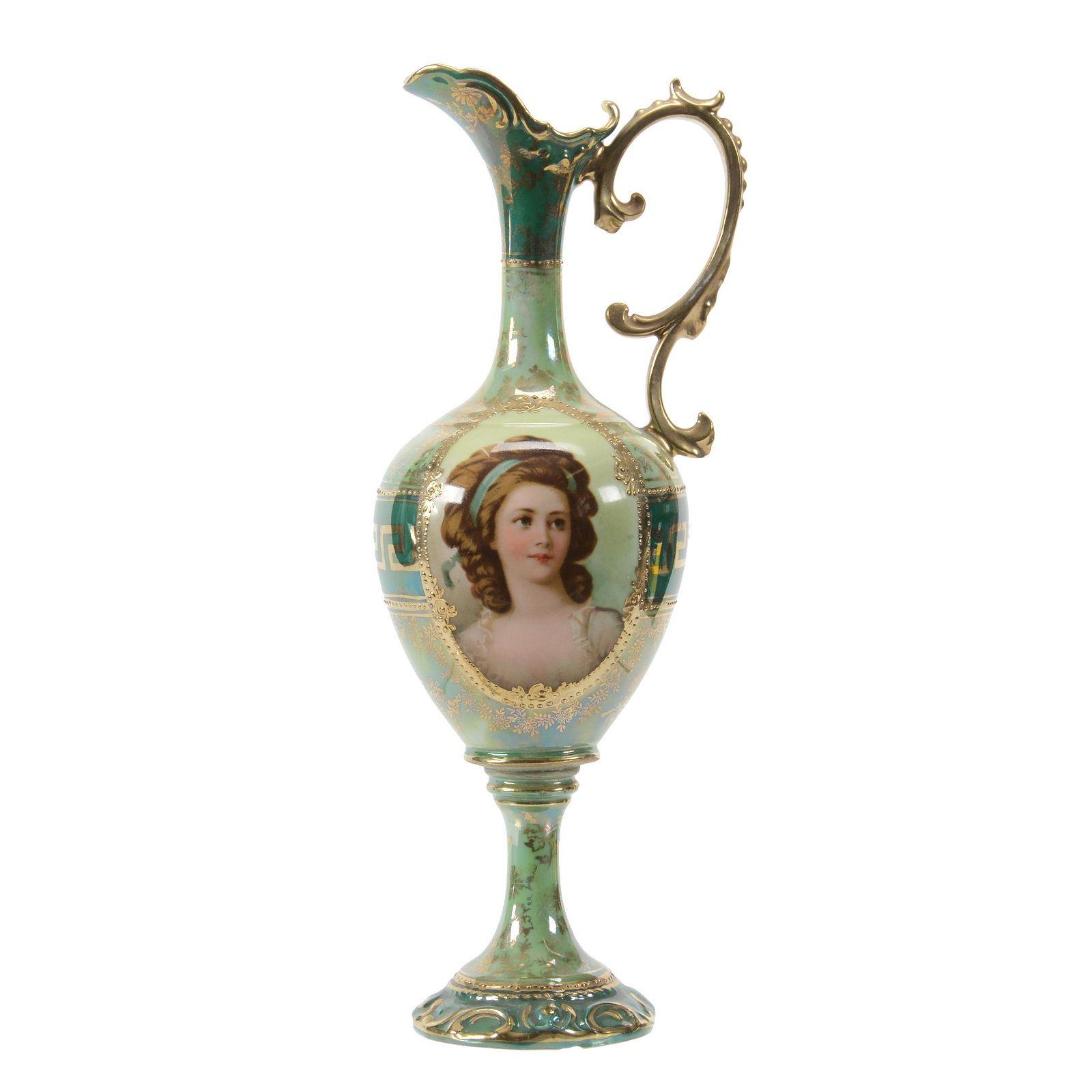 Pedestal Ewer Marked Royal Vienna, Portrait Decor