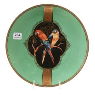 Plate Marked R.S. Germany, Parrot Decor