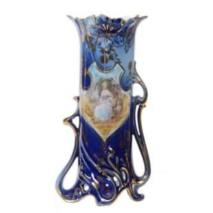 Vase, Unmarked Royal Vienna, Woman W/Dog