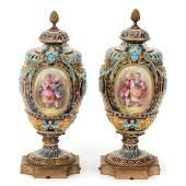Pair Urns, Early German Porcelain
