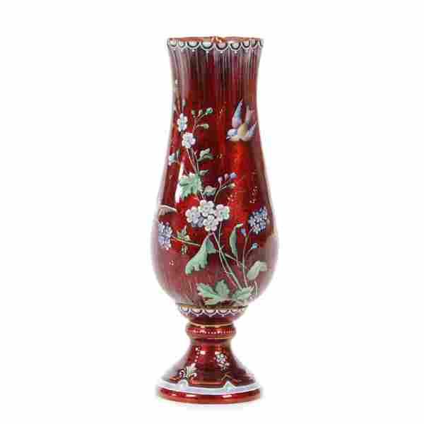 Pedestal Vase, French Enamel