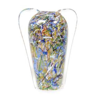 Vase, Two Handles, Signed Kosta Boda